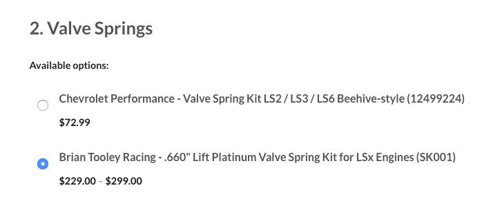 Valve Spring Options